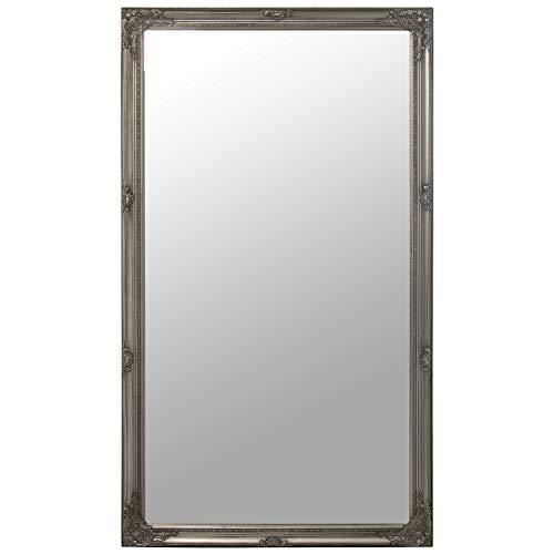 DRW Espejo de Pared Rectangular de Madera y Espejo en Plateado 90x160cm