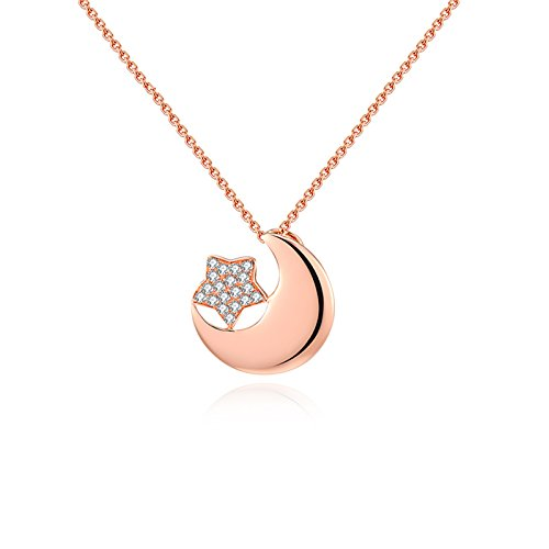 Daesar Collana Donna 18K Oro Rosa Collana Donna Diamante Collana Ciondolo Stella Luna Collana in Oro Rosa Collana Catena Lunghezza: 45CM