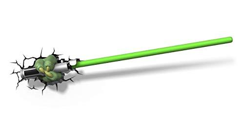 Star Wars Yoda Lichtschwert Wandlampe 3D Light FX LED Kinderlampe - Nachtlicht für kinder mit automatische Abschaltung und wandaufkleber