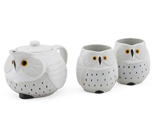 Cute Novelty Owl Design Ceramic Tea Pot with Strainer and 2 Cups Tea Set (White Owl)