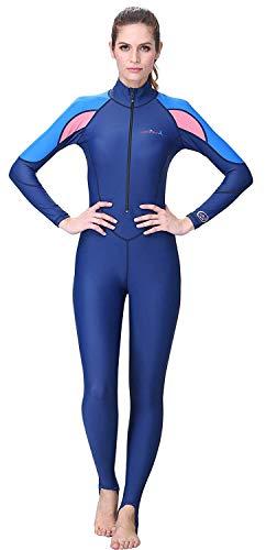 A Point Snorkeling Swimming Full Suit Bodysuit Wetsuit Swimsuit For Men/Women (XL(169-174CM), women's navy/pink)