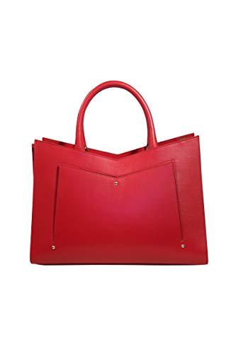 Sara - Bolsa de Piel con Laterales de cocodrilo, Color Rojo