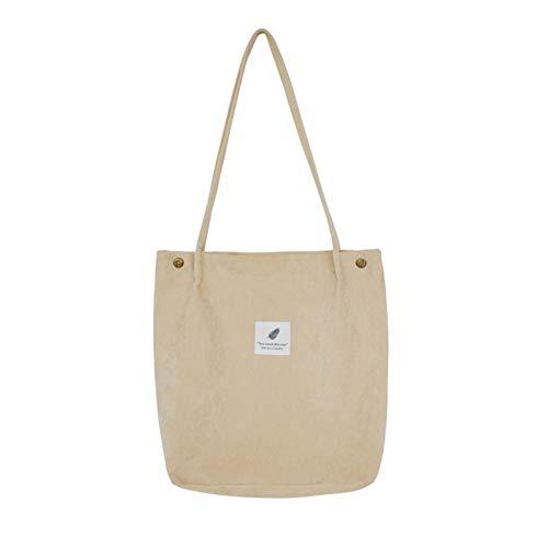 Belsmi Crossbody Beach Laundry Bag Womens Ladies Girls 13 Inches Heavy Corduroy Cotton Shoulder Bag Shopping Retro Casual Handbags Canvas Totes Bag (Z Beige)