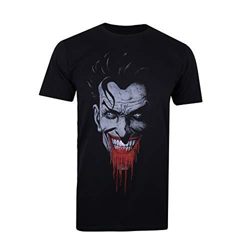 DC Comics Joker Grin Camiseta, Negro (Black Blk), X-Large para Hombre