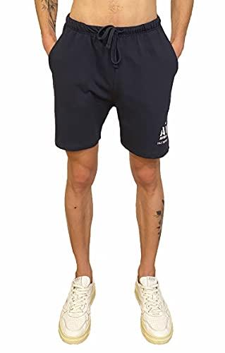 tuta uomo in cotone AVX Pantaloncini Corti Sportivi da Uomo in Cotone con Tasche (Blu Navy
