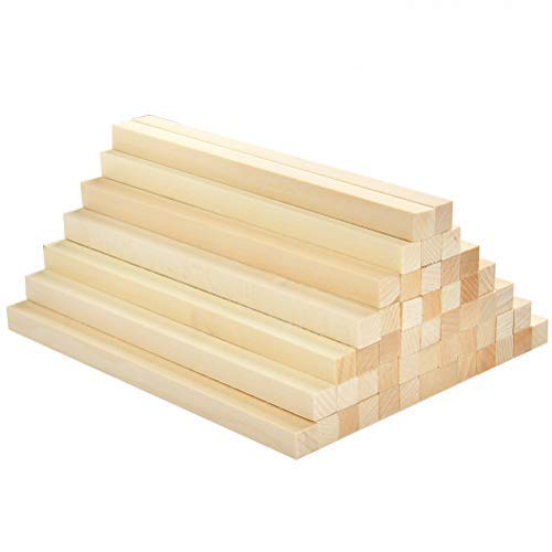 BUYGOO 50Pcs Holzstäbe Quadratisch Holzstäbchen zum Basteln - 25x1x1cm Holzblock aus Lindenholz, Holzstäbchen für Heimwerker Schnitzen Basteln DIY Handwerk