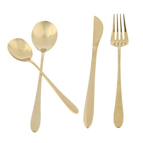 SDENSHI Vajilla de Cocina Compacta Utensilios Cucharas Tenedor Cuchillo de - Dorado