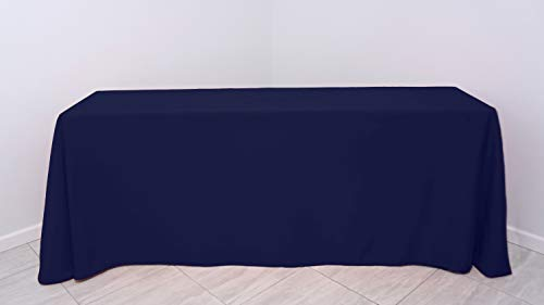 """Kadut Rectangle Tablecloth - 90 x 132 Inch – Navy Blue Rectangular Table Cloth for 6 Foot Table in Washable Polyester – 30"""" Drop, Great for Buffet Table, Parties, Holiday Dinner, Wedding & More"""