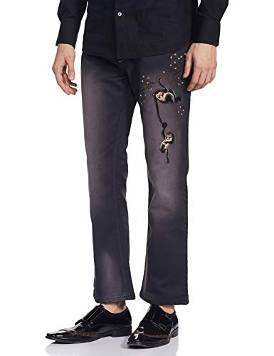 ALEXANDER JEANS by ROHIT BALGrey Denim Jeans with Two monkeys Embroidery