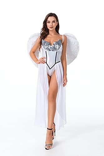titivate Disfraz de Cleopatra para mujer, disfraz de diosa Egipto para adultos, disfraz de Anuket egipcio, para Halloween y Carnaval (2109 blanco, M)