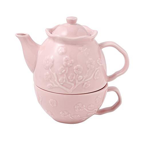 MALACASA, Serie Sweet.Time Conjunto de Tetera Individual Porcelana, Juego de Te para uno, Color Rosa Diseno de Flores en Relieve