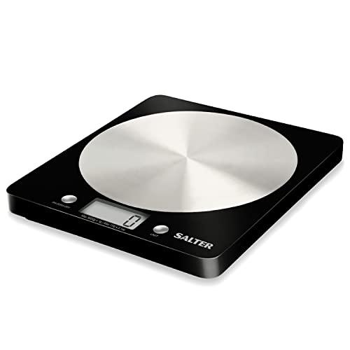Salter Balance de cuisine électronique de qualité – Compacte et facile à lire - Capacité de 5kg – Fonction Tare - grammes, ml, onces, livres - Acier inoxydable et Noir