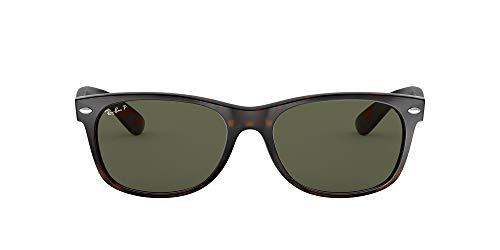 Ray-Ban Unisex-Adult RB2132 New Wayfarer Sunglasses, Tortoise/Polarized Green, 52 mm