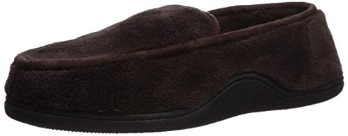 isotoner Men's Microterry Slip On Slippers, Chocolate, Medium / 8-9 US