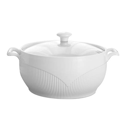 CJTMY Ceramic Soup Pot Nordic Phnom Penh White Round 2.6L Large Bowl with Lid Cooking Utensils Household Kitchen Supplies Tableware