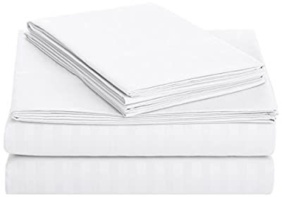 AmazonBasics Deluxe Striped Microfiber Bed Sheet Set - King, Bright White