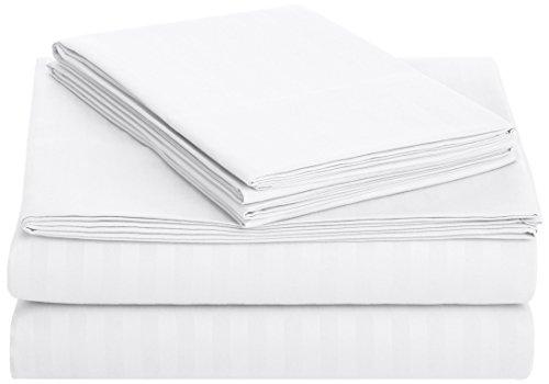 AmazonBasics Deluxe Striped Microfiber Bed Sheet Set - Full, Bright White