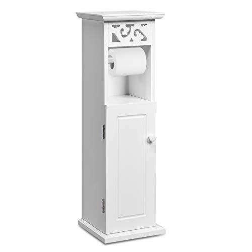 COSTWAY Toilettenschrank mit Toilettenpapierhalter, Badezimmerschrank schmal, Papierhalter freistehend, WC Regal aus Holz, Standschrank 20 x 20 x 66 cm, weiß