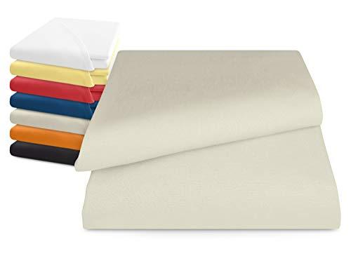 npluseins klassisches Betttuch ohne Gummizug - Einheitsgröße von ca. 150 x 250 cm in 7 Uni-Farben erhältlich, Natur