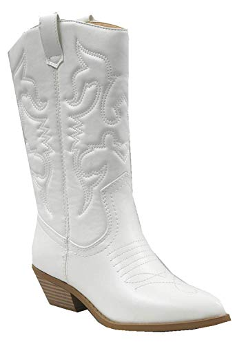 Soda Womens Red Reno Western Cowboy Pointed Toe Knee High Pull On Tabs Boots (5.5, Pu White)
