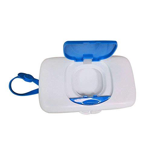 Yuyanshop Caja de toallitas húmedas dispensador de pañuelos azul contenedor de almacenamiento portátil al aire libre fácil de llevar a prueba de polvo para viajes