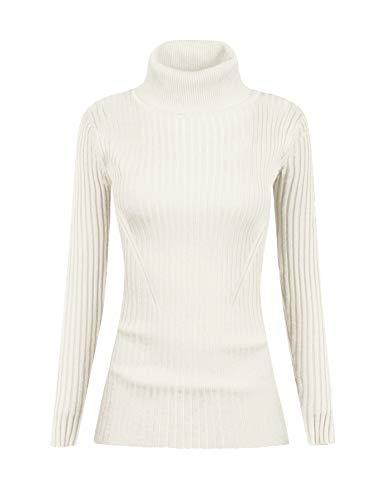 v28 Women Stretchable Turtleneck Knit Long Sleeve Slim Fit Sweater (S,White)
