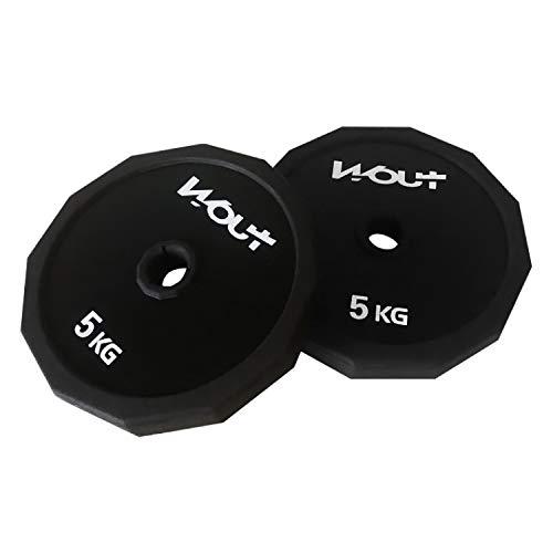 ダンベル 【スチール製】 10kg 15kg 20kg 2個セット (Wout) バーベル アレー 筋トレ ウェイトトレーニング (5Kgプレートのみ×2個)