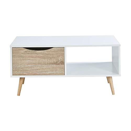 Générique Bela Table Basse scandinave Blanc et Chene - L 90 cm