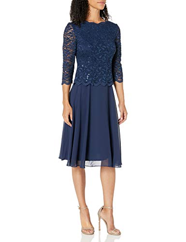 Alex Evenings Damen Tea Length Sequin Mock Dress Petite and Regular Size Kleid für besondere Anlässe, Navy, 42