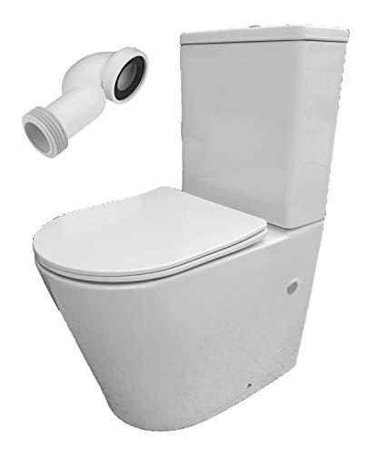Pack WC de Inodoro compacto adosado a la pared con salida dual y sistema rimless Roma