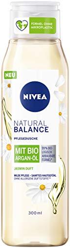 Nivea Duschgel Natural Balance mit Jasmin-Duft und Bio Argan-Öl (300 ml), Pflegedusche ohne allergene Duftstoffe, vegane Dusche für trockene und sensible Haut