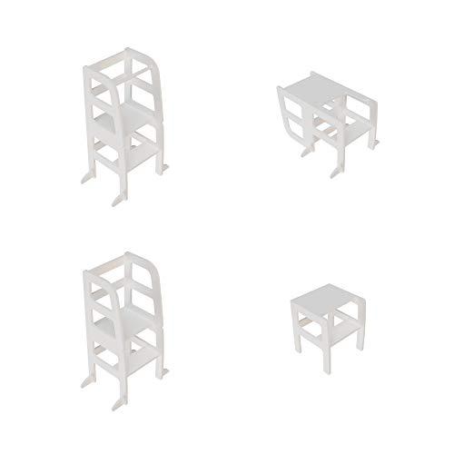 Atvi Kids, Learningtower - 4 Funktionen - Lernturm - Entdeckungsturm - Küchenhilfe (Weiß)