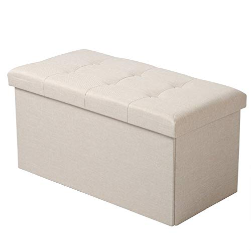 WOLTU Sitzhocker mit Stauraum Sitzbank Faltbar Truhen Aufbewahrungsbox, Deckel Abnehmbar, Gepolsterte Sitzfläche aus Leinen, 76x37,5x38 cm, Cremeweiß, SH10cm-1