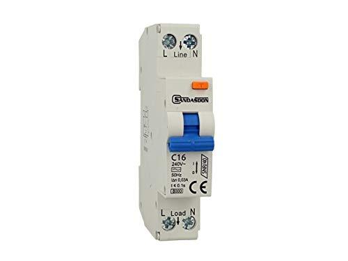 SANDASDON SD-SNR/40-C16 Interruttore Differenziale Salvavita 1P+N 40A C16 1M 1 Modulo DIN
