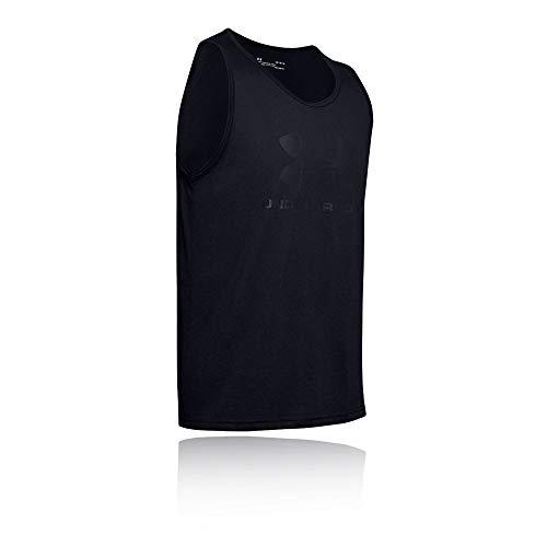 Under Armour Herren Sportstyle Left Chest sportliches Muskelshirt aus superweichem Stoff, ärmelloses Sportshirt mit loser Passform, Schwarz (Black/Black/Black (001), S