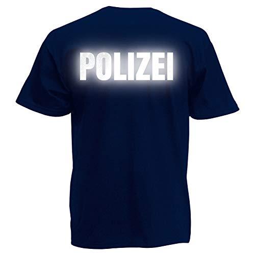 Shirt-Panda Herren Polizei T-Shirt - Druck Beidseitig Brust & Rücken Reflex Dunkelblau (Druck Reflex) L