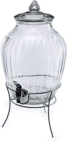 Circleware Westside Glass Beverage Dispenser with Metal Stand and Lid Entertainment Kitchen Glassware Pitcher for Water, Juice, Wine, Kombucha & Cold Drinks, Huge 2.7 Gallon, Clear