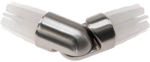 DecoProfi Gelenkverbinder für Gardinenstangen/Gardinenrohr 20mm Edelstahloptik (Nickel gebürstet)
