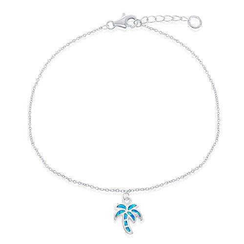Beaux Bijoux Sterling Silver w/Created Blue Opal Palm Tree Adjustable 9+1' Nautical Anklet Bracelet