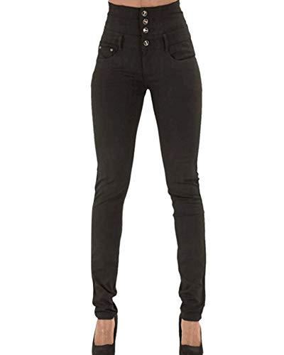 Kasen Pantalones Jeans Mujer Elástico Flacos Vaqueros Cintura Alta Negro 3XL