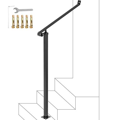 Happybuy Outdoor 40mm Pipe 2 Stair Black Wrought Iron Step Railing Handrails