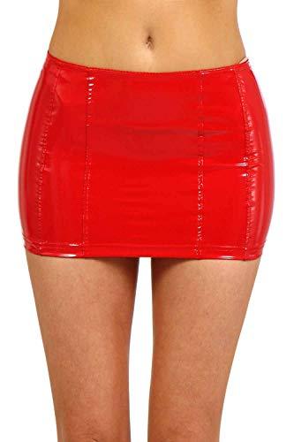 Miss Noir Wetlook Sexy Minifalda (S-4XL) Vinilo PVC para mujer, falda corta con cremallera rojo S