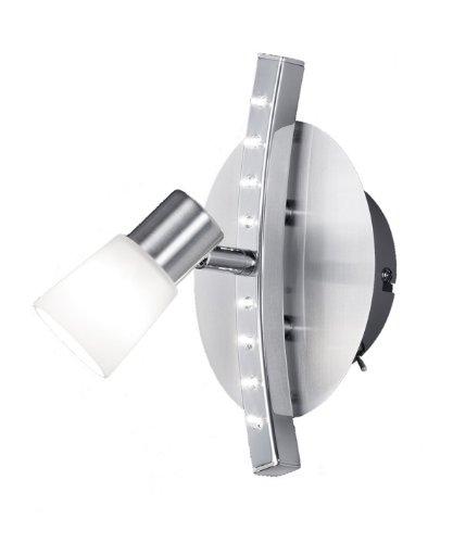 Trio-Leuchten Halogen/LED-Spot in nickel matt/chrom, Glas weiß satiniert, inklusiv 1x G9 28W + 8x LED 0.06W LED, Maße: 20 x 10 cm 821970107