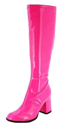 Das Kostümland Gogo Damen Retro Lackstiefel - Pink Gr. 44 - Tolle Schuhe zur 70er 80er Jahre Disco Hippie Mottoparty