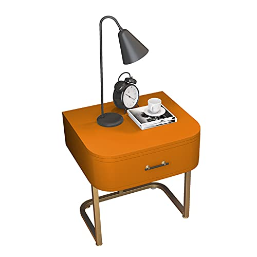 Nachttisch Nachtschrank Nachtkommode Nachttisch Nordic Leather Nighttin Mit Metallbeinen Bettkabinett Für Schlafzimmer Wohnzimmer, 45 * 40 * 52 cm(Color:Orange)