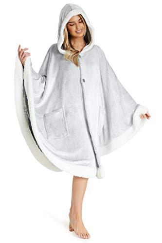 CityComfort Bluza z kapturem, damski kocyk z kapturem, oversize, przytulny polar, duży rozmiar, prezent dla kobiet, szary, jeden rozmiar