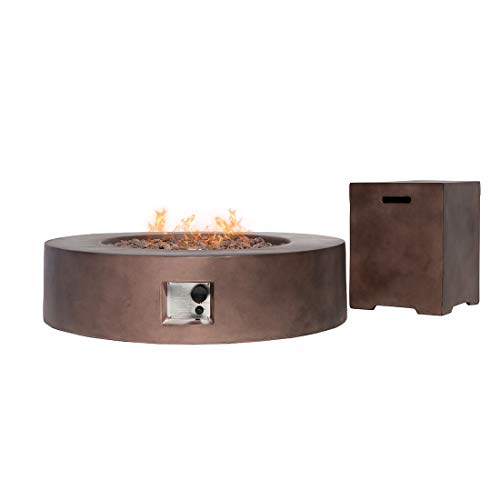 HOMPUS Propane 42-inch Round Bronze Concrete Fire Table with Tank Cover, Lava Rocks and Rain Cover, 50,000 BTU Patio Fire Pit Table Set for Outdoor