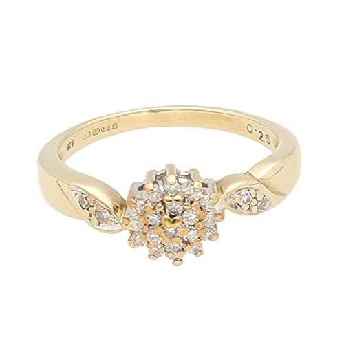 Anillo de oro amarillo de 9 quilates para mujer con diamante de 0,25 quilates (tamaño P) cabeza de 7 mm   Anillo de lujo para mujer
