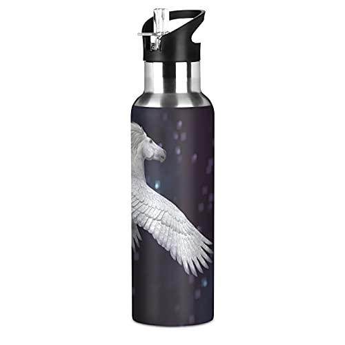 Hunihuni - Botella de agua deportiva con mango y pajita de acero inoxidable, sin BPA, mantiene el frío y caliente para deportes, senderismo, gimnasio, 20 onzas