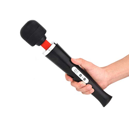 Upgrade Cordless Wand Massager Large Powerful with 10 Speeds Body Massager,USB Rechargeable Handheld Wand Massager. (Black)